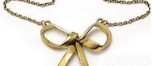 Danielle Bronzen Vintage Bow Necklace