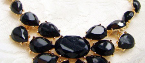 Margot Black Gem Drop Geometric Necklace