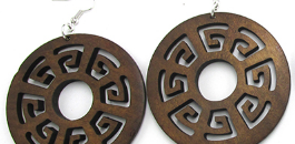 African Tribal Wood Earrings